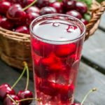 Close-up of sweet cherries juice